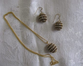 Handcrafted Domestic Finch Egg Necklace and Pierced Earring set.