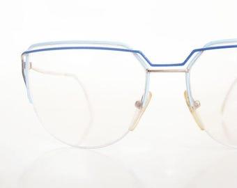 ON SALE Vintage Blue New Wave Eyeglasses Wire Rim 1980s Oversized Retro Rocker Chic Glam Glasses Pastel Sea Cerulean 80s Eighties Indie Hips