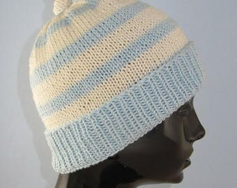 50% OFF SALE Instant Digita File PDF Download Knitting Pattern - Simple Stripe Topknot Beanie