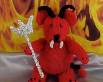 50% OFF SALE Instant digital file pdf download Knitting pattern-Red Devil Teddy Bear Toy knitting pattern pdf download by madmonkeyknits