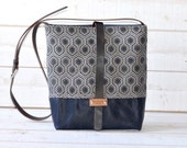 Waxed canvas bag ,cross body bag, waxed canvas day bag, leather strap shoulder bag, gray geometric bag