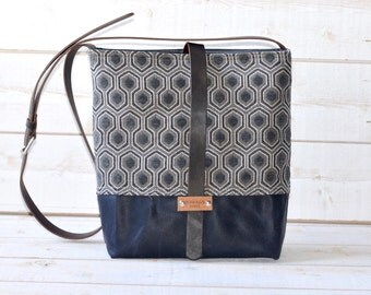 Waxed canvas bag ,cross body bag, waxed canvas day bag, leather strap shoulder bag, gray geometric bag