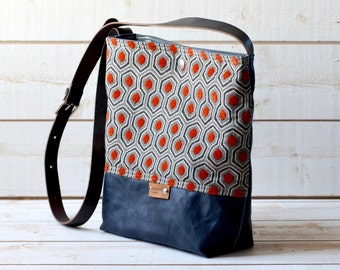 Waxed canvas bag ,cross body bag, waxed canvas day bag, leather strap shoulder bag,orange geometric,metal closure