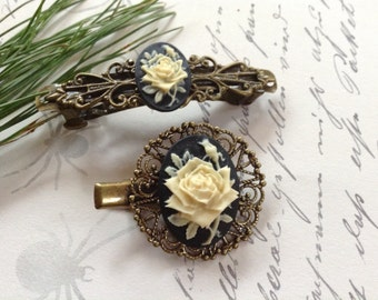 Set of 2 Black And Ivory Rose Hair Clips
