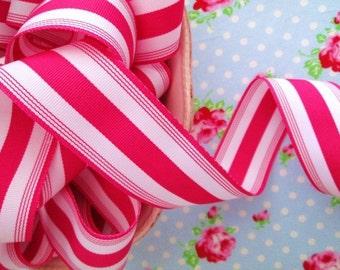 Striped Grosgrain Ribbon -  Raspberry Sherbet - 1 1/2 inch - 2 Yards