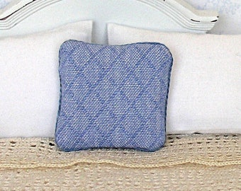 1/12 Pillow - Faded Blue Windowpane Pattern - Handmade Dollhouse Scale Miniature - Shabby Cottage *Free Shipping*