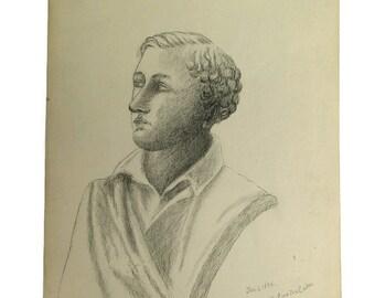 Antique 1894 Folk Art Pencil Drawing English Poet Lord Byron