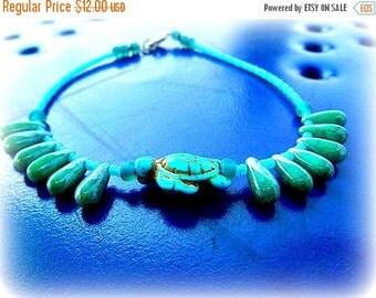 Xmas Sale Turquoise Sea Turtle Anklet, TrendyJewelry, Beach Bracelet, Spiritual Jewerly, TurquoiseTurtle, Beach Girl, Ready to Ship, Direct