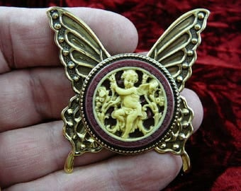 Cherub Angel in garden burgundy + ivory Cameo butterfly repro Brass Pin Pendant Jewelry brooch necklace CM54-9