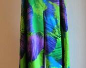 Vintage Purple Blue and Green Hawaiian Palazzo Pants