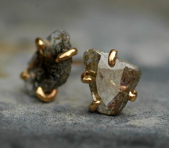 ON SALE Ready to Ship:  Large Diamond Slices in Recycled 14k Yellow Gold Prong Settings- Limited Edition Hand Built Earrings
