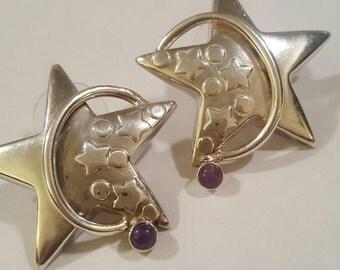 Vintage Sterling Silver and Amethyst Star Earrings