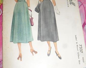 Vintage McCalls  Sewing Pattern - 6-Gore Skirt  - 1940s - # 7337