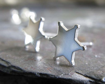 Sheriff star badge earrings. Law enforcement sterling silver studs. Back the Blue jewelry. Gift wife or mom. Officer, cop, first responder.