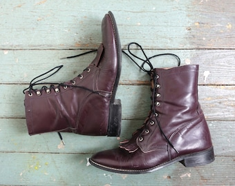 90s Burgundy Ropers- 1990s Leather Granny Boots- Grunge / Witch / Punk