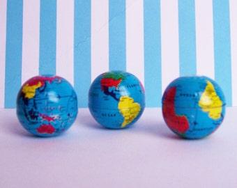 Three Mini Tin Old World Globe Charms