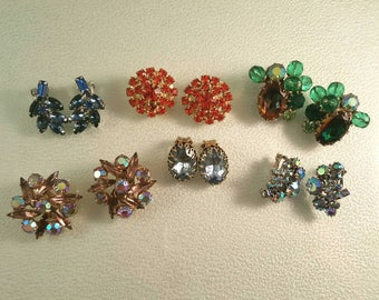 Lot of 6 Pair of Rhinestone Earrings in Green Blue Orange Wear Upcycle Repurpose Destash