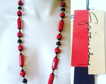 Red Givenchy Necklace ~ Designer Givenchy Lucite Necklace ~ Red and Black / Nos Dead Stock Orig Tags / FREE SHIPPING in US
