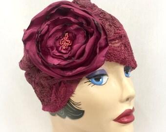 Raspberry Turban -  Raspberry Hat - Raspberry Cloche - Speakeasy Hat - Cocktail Hat - Formal Chemo Cloche - Elegant Modesty Hat - Cloche Hat