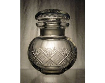 Antique glass storage jar / Vintage bottle or posy vase with star lattice pattern