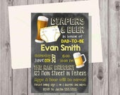 ON SALE Digital Chalkboard Diapers & Beer Yellow Baby Gender Neutral Dadchelor Shower Invitation Personalized Printable