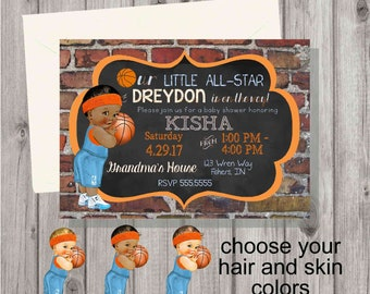 Digital Chalkboard & Brick Orange and Blue Basketball Baby Shower Party Invitation You Print Printable African American, Hispanic