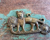Vintage Cat With Flowers pendant Jewelry SuppliesHeavy Brass Egyptian Revival