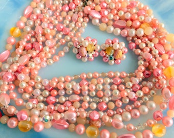 Vintage multistrand Peach Pearl necklace/ cluster beaded earring set 10 Strand