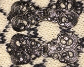 Sweater Clasps 6 Sets Scroll Design Fastener Clasps Silvertone Reclaimed Recycled Free US Shipping!