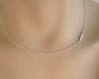 Sideways cross necklace - 925 sterling silver - protection - Greek jewelry - fashion jewelry