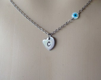 Personalized evil eye necklace heart  - mother of pearl hand stamped - Stainless steel  - Greek jewelry - fashion jewelry
