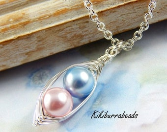 Mothers Day Sale Peas in A Pod, Two Peas In A Pod Necklace,  Pink And Blue Pearls, brother and sister, twin boy and girl