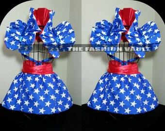 Reversible Cosplay Wonder woman Shoulder Collar Bolero wrap burlesque set Clown Spaulding