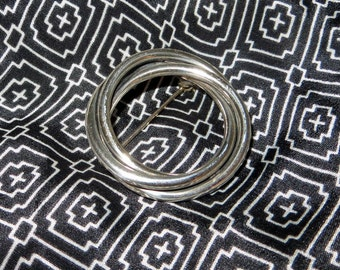 "Sterling Silver Circle Brooch 1 1/4"" Diameter"