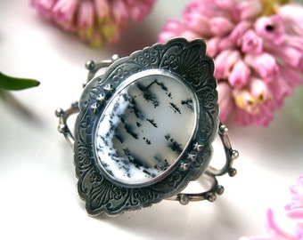 Misty Morning - Dendritic Opal Sterling Silver Cuff
