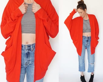 vintage RED batwing slouch POCKET oversize CARDIGAN top S-M