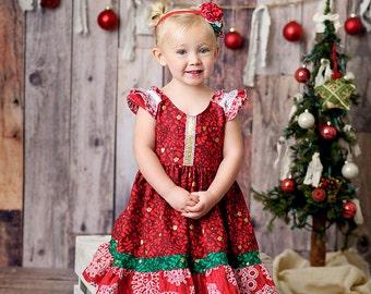 Girls Cherish Christmas Ruffle Sleeve Dress - by Melon Monkeys - 2016 Winter
