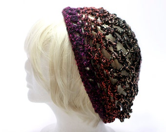 Multicolor Black Ombre Dark Neon Rainbow Slouchy Hat Tam Headwear OOAK