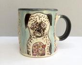 Dog Mug, Dog Full of Love Blue Mug with Hearts, Ceramic Coffee Mug or Tea Mug, Animal Pottery