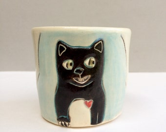 Ceramic Kitty Cup, Small, Black Cat on Blue and White Ceramic Shot Glass or Shot Cup or Child's Cup, Bar Ware, Animal Pottery, (eyes right)