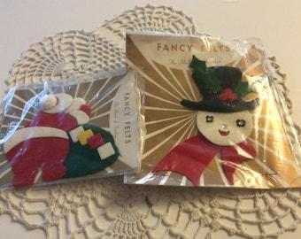 Vintage Christmas Fancy Felts Trims, Decorations, Santa & Snowman -  Lot of 2 - New Old Stock