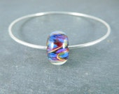 Colorful Glass Bangle Bracelet, Purple Blue Yellow Bracelet, Simple Stacking Hammered Silver Bracelet, Sterling Silver Minimalist Jewelry