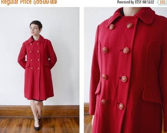 SPRING CLEANING SALE 1960s Red Double Breasted Coat - S/M