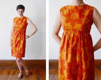 As Is 1960s Orange Hawaiian Dress - XS/S