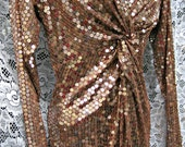 1980s 80s PROM gown in Size 8, GOLD sequined dress, long maxi dress gown, vintage 1980s 80s sequined dress w/beige gold mirror sequins