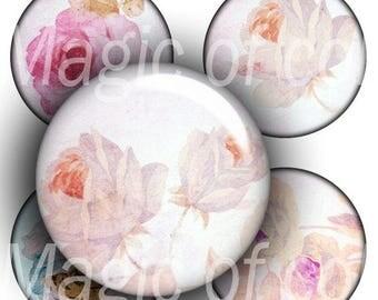 Subtle Sweet Roses   - 63  1 Inch Circle JPG images - Digital  Collage Sheet