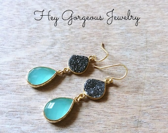 Natural druzy and chalcedony teardrop earrings- druzy- blue chalcedony- 14k gold- valentines gift