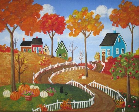 Les couleurs de l'automne l'Art populaire d'impression 7 po x 5 po.