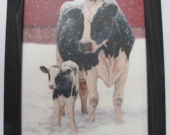 Dairy Cow, Farm Wall Art,Winter Wall Art,141/2x181/2,Handmade Distressed Frame.First Christmas,,Bonnie Mohr