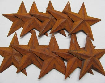 "Rusty Metal Star,5.5"" Metal Rusty 3D Star, Craft Supply,1 Package of 5"